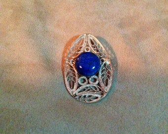 Vintage Sterling Silver Filagree Brooch with Blue Round Stone