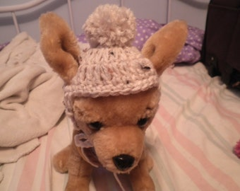 Crocheted Cat or Dog Hats w PomPom, X-Small and Small, Winter Pet Beanie