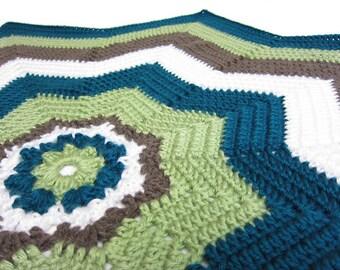 8 point star afghan- ocean ripples - baby blanket - handmade by RockinLola