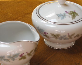 """Cream and Covered Sugar Bowl - Aqua, Purple and Green Grapes and Leaves (MSI """"Vintage 6701"""")"""