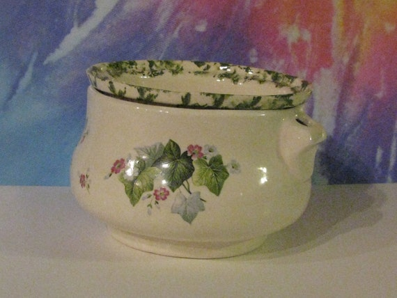 Medium white with green accent  with ivy and tiny flowers African Violet planter, pot