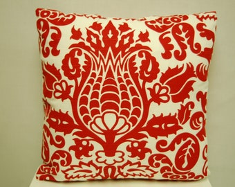 Red White Print Throw Pillow Cover 16 X 16