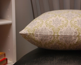Throw Cushion Cover 16 Inch Green Tan Damask, Decorative Toss Pillow, invisible zipper closure