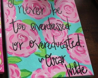 8x10 Wood Backed Lilly Pulitzer Inspired Canvas