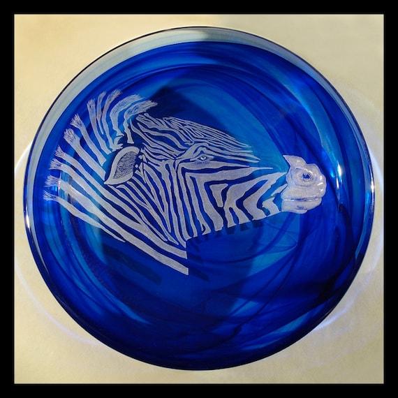 zebra bowl on crystal Kosta boda glass