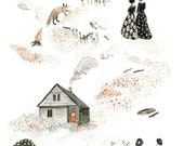 Fox Sisters, Watercolour Print