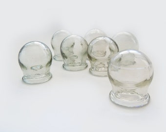 Vintage medical glass cupping set of 8 glass cups from Soviet era.