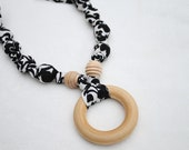 Fabric Necklace with Wood Ring Pendant,Teething Necklace, Chomping Necklace, Nursing Necklace - Classic Black