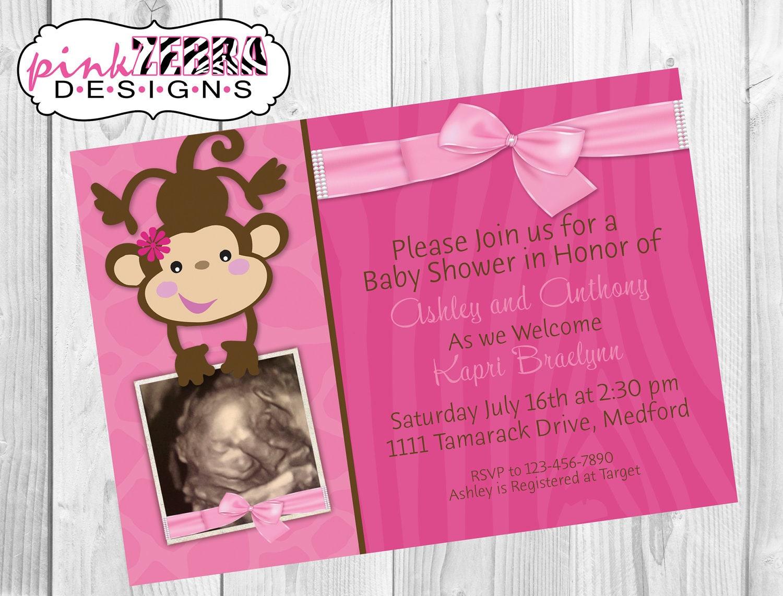 items similar to pink girly monkey baby shower invitation digital