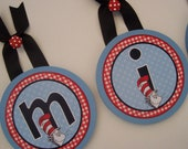 """Round Wood Nursery Wall Letters - Dr Seuss Cat in the Hat """"Michael"""""""