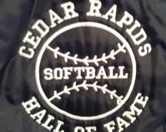 Vtg Black Cedar Rapids Softball Team Satin Nylon Jacket New