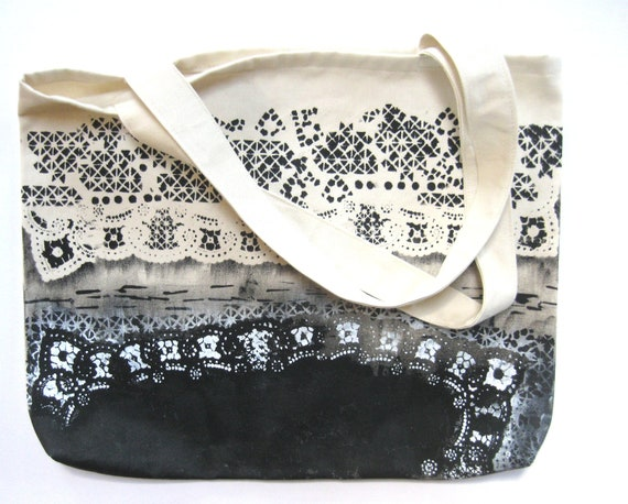 Environmentally Friendly Large Black and White Hand Painted Tote Bag 100% Cotton Eco Friendly Reusable Shopping / Grocery Bag / Carry All