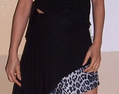 Two Piece Asymmetrical Dress, in Black with Gray Cheetah, Animal Print Border,  T-Shirt Top Cut on an Angle