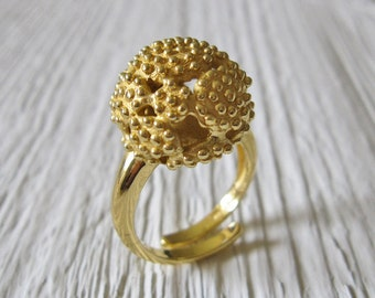 unique 18 carat gold plated Ring, Adjustable handmade ring in 925 Sterling Silver with 18 Kt Gold plating, Contemporary Ring