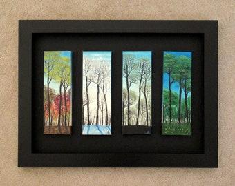 "Original oil painting ""Seasons"" (4 pieces 4""x12"" each)"