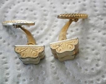 Vintage Cufflinks  Metallic Gold Color