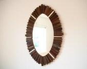 "Reclaimed wood oval mirror 38"" x 28"" x 1-1/4"""
