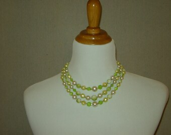 1950s Green Three Strand Beaded  Vintage Necklace/ Earrings Set