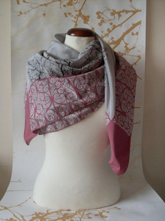 Hand Screen Printed Silk Scarf Light Grey / Pink / Brown