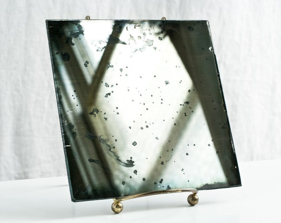 Mirror Home Decoration - Hand Silvered Glass Mirror, 6x6, With Stand - Minimalist Modern Interior Design Autumn Unique Gift - The Way Two