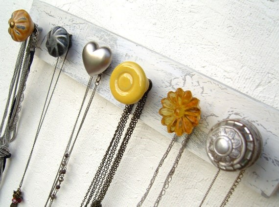 Yellow and Grey Jewelry Rack