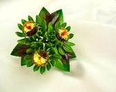 Vintage Brooch Green Enamelled Flower with Amber Rivoli Rhinestones