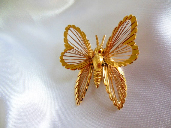 Vintage Monet Brooch Butterfly Spinneret from 1960's Multi Dimensional Design