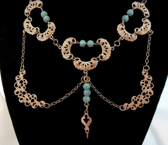 Vintage Ethnic Persian or Indian Export Necklace with Coral and Turquoise Beads