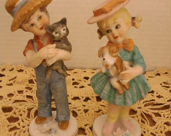 Dabs Japan Girl and Boy Porcelain Figurines