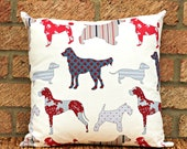 Dog pillow cover cushion cover , 16 x 16 inches  - grey, blue, red,