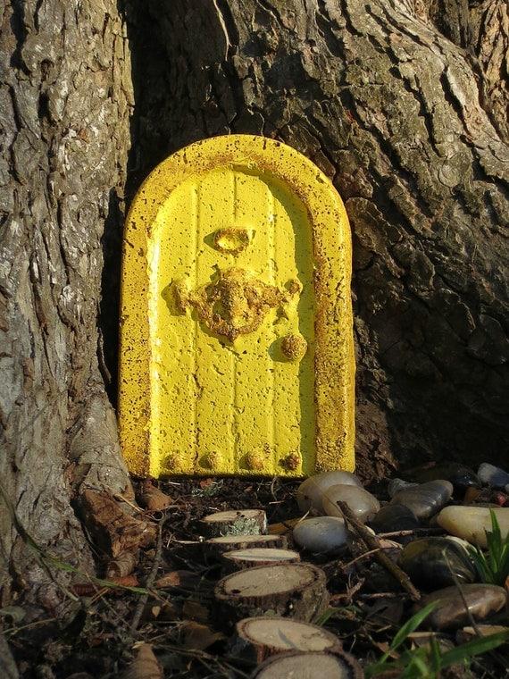 Unique Fairy Door, Faerie Stone Door, Faerie Door Calls the Fairies Home, Yellow Fariy Door,  Handmade Stone Fairy Door