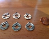 6 pc Hope Medallion Charms