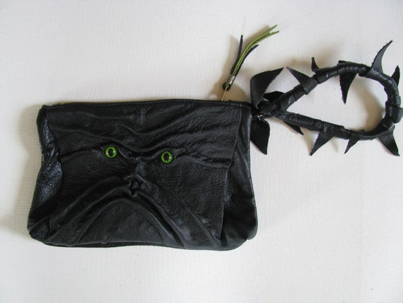 Black Leather Spooky Face, Clutch Bag / Cosmetic Bag / Hand Bag / Wristlet