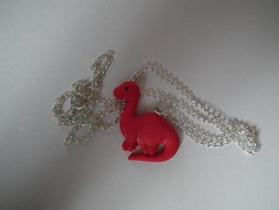 Mini Red Brontosaurus Necklace