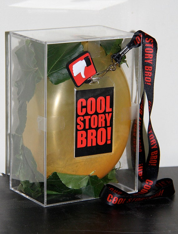 inscrutably unique and fun PLEXIGLASS box with (organic) leaves and BALLOON and (hot topic) COOLSTORYBRO lanyard Let's Talk Rarity