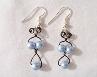 Victorian style black twisted wire and sky blue Swarovski crystal pearl earrings - handmade black wire earrings - soft sky blue earrings