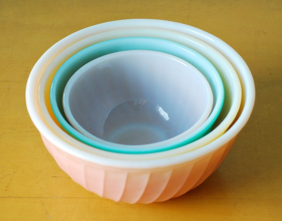 Fire King Rainbow Swirl Mixing Bowl Complete Set