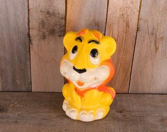 1970s Yellow Plastic Cartoon Lion Toy