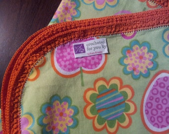 "Strawberries & Flowers - Baby Blanket - 36"" x 36"". Hand Crochet Edging. Ready to ship"