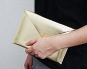 "Gold Leather Envelope Clutch Purse iPad Mini Case 7"" Tablet Case"