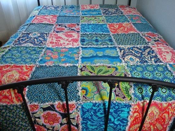 KING size Quilt Rag Patchwork Bed Quilt MODERN Fabrics