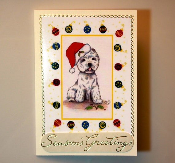 BEAUTIFUL Handmade Christmas Card with envelope. Proceeds to WESTIE RECUE