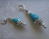 SITARA - Turquoise Lotus Flower Silver Earrings