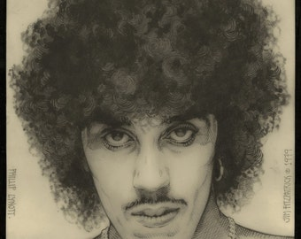 Fine Art Philip Lynott Portrait Signed and numbered Limited Edition Print 1979 33x23. Original Artwork, Pencil Drawing, Large Wall Art.