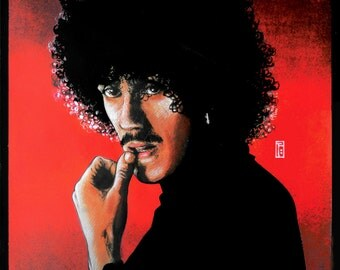 "Philip Lynott Portrait 1981 8x11"""" Print. Vintage, Retro, Pop, Album Art, Rock, Metal."