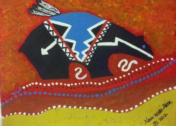 Native American Inspired  Painting On Canvas, Bear fetish , Power , Guardian , Canvas, Art, Painting, Oil, Originial, Signed