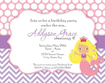 Mermaid Party Invitation - Pink and Purple