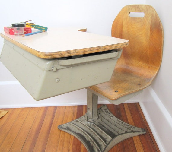 Vintage School Desk With Attached Wooden Chair Mid Century