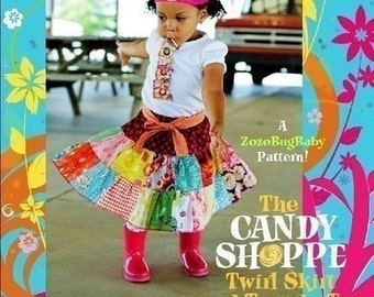 INSTANT DOWNLOAD Girls Dress PDF Sewing Pattern sizes 12m to 10 The Candy Shoppe Twirl Skirt and Tuxedo Tee by ZozoBugBaby
