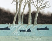 fairytale art watercolor original painting submarine trees underwater Susan Sorrell Hill